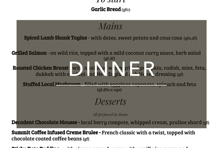 Group Dinner Menu