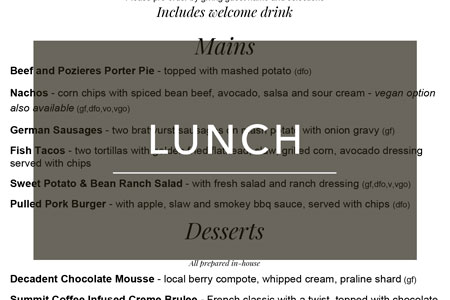 Group Lunch Menu