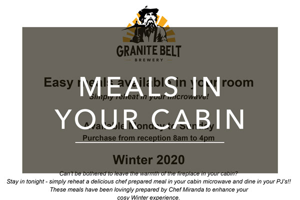 Meals in your cabin menu