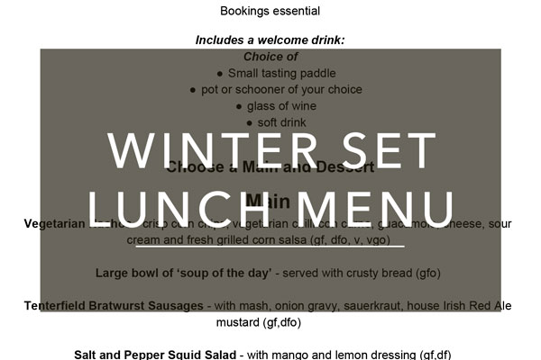 Winter set lunch menu