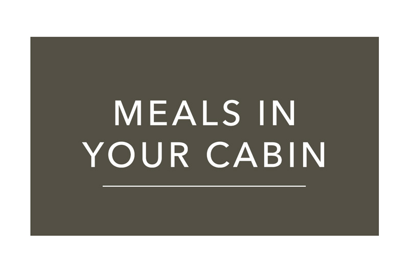 Menu for meals in your cabin