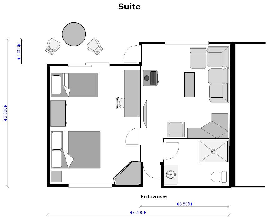 Suite room floor plan